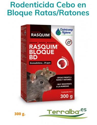 Rodenticida Cebo en Bloque Ratas y Ratones Rasquim Bloque BD