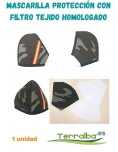 Mascarilla Protección Camuflaje con tejido Filtrante con bandera de España