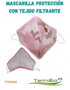 Mascarilla Protección Rosa Camuflaje con tejido Filtrante y bandera de España