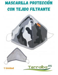 Mascarilla Protección Gris Camuflaje con tejido Filtrante y bandera de España