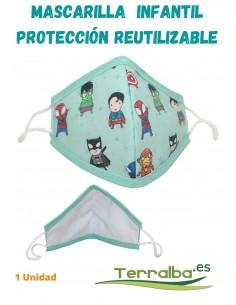 Mascarilla Protección Infantil Verde con dibujos y Tejido Filtrante Reutilizable