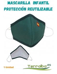 Mascarilla Protección Infantil Verde con bandera España y Tejido Filtrante Reutilizable