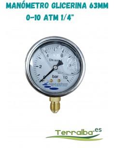 """Manómetro glicerina 63 mm de 0 a 10 atmósferas 1/4"""""""