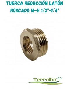 """Tuerca reducción latón roscada M/H 1/2"""" a 1/4"""" fitosanitarios Terralba"""