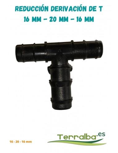 Reducción derivación conexión de T  16 mm - 20 mm - 16mm Terralba