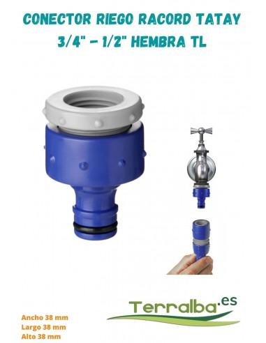 """Conector de riego racord 3/4"""" 1/2"""" hembra  TL TATAY, conexión rápida Terralba Jardín"""