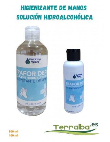 Solución hidroalcohólica higienizante de manos Trafor Derm Quimicamp, terralba desinfectante gel de manos